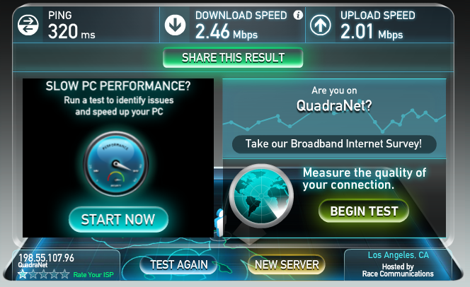 Check internet Speed online with Speedtest.net